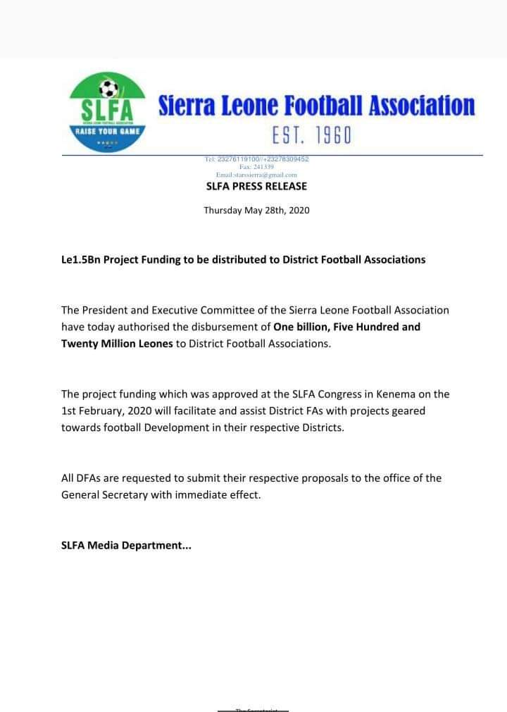 Sierra Leone Football Association (SLFA) has announced financial support for District Football Association in order to facilitate and assist Districts with project geared towards Football Development in the country. https://t.co/XYHYM2J3cp