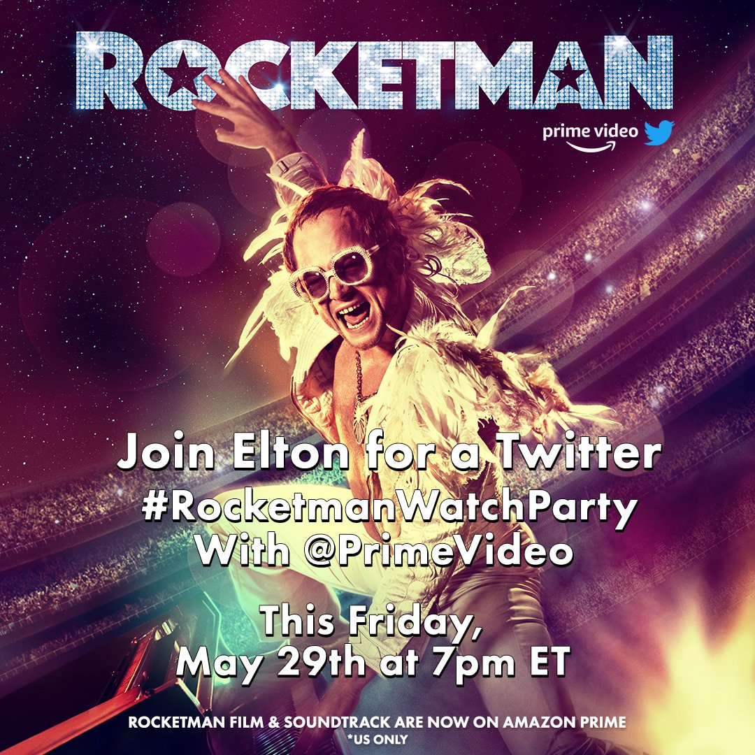 @eltonofficial That's perfect, I'll bring the popcorn. See you then! #RocketmanWatchParty