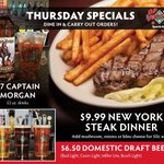 Steak Day Thursday! $9.99 New York Strip Steak Dinner, $6.50 32oz Domestic Draft Beers & $7 32oz Captain Drinks! 🥩🍺🥃 Dine-in or carry out here: https://t.co/duqkoKx1Ac