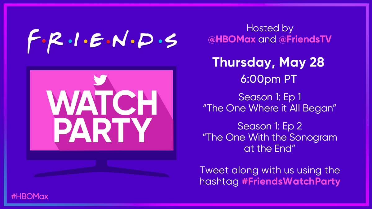 We're throwing a little @FriendsTV party tonight at 6pm PT/ 9pm ET. Nothing fancy, don't dress up. Start streaming today and watch along! https://t.co/rabCnM9Ajm https://t.co/Lg1V1dwyw7