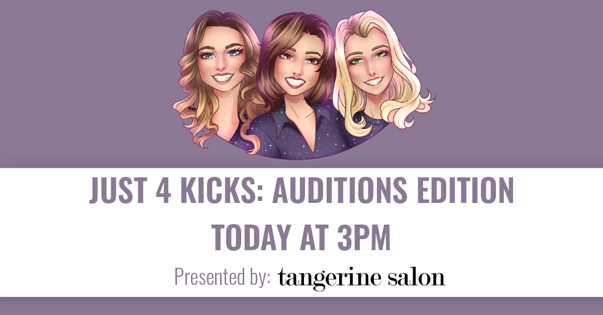 Join us for a VERY SPECIAL episode of #Just4Kicks presented by @tangerinesalons TODAY AT 3PM as the J4K gals review the most memorable #DCCAuditions submissions thus far with surprise guests and judges and discuss the new VIRTUAL judging process!!    🎙https://t.co/YFU8Os1ri8 https://t.co/dnyH2mpoIB