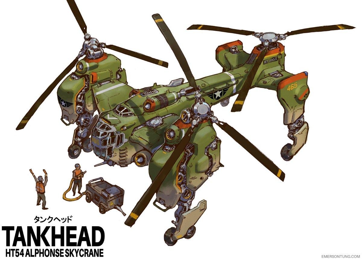 Alphonse Skycrane, aerial Tankhead transport. Later repurposed for civilian use after the end of the Never War.  #tankheadmecha #giantrobot #robot #mecha #helicopter #artistsontwitter #conceptartpic.twitter.com/ZVwbN2vgNk