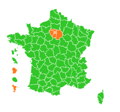 This is what the #Deconfinement map of #France looks like right now compared to a few weeks ago. pic.twitter.com/dEIdF1xVcV