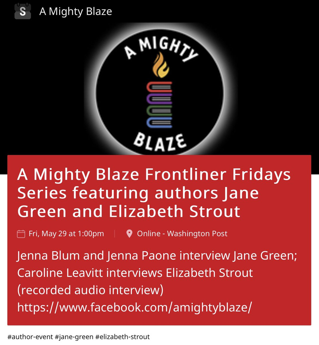 Much obliged to our friends at @washingtonpost for this shout out of FRI 5/29 #FrontlinerFriday events! @JaneGreen 1PM ET ⭐️ #ElizabethStrout 4PM ET for our special #Pulitzer Podcast. Both on Blaze Facebook page. INFO: https://t.co/mgHabcZlcC https://t.co/CFc2U5ANgr