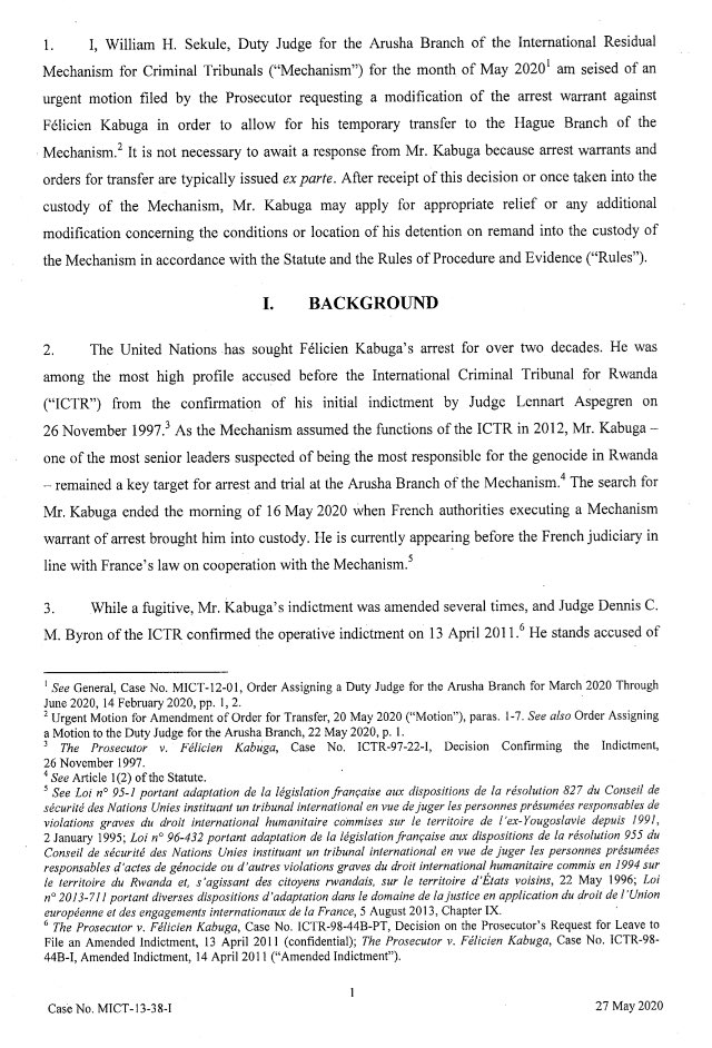 Application to transfer Rwandan Genocide Suspect Felicien Kabuga to The Hague has been rejected. (Likely to be tried in Arusha once circumstances (I.e- pandemic) allow. https://t.co/UMgoCeZlMW