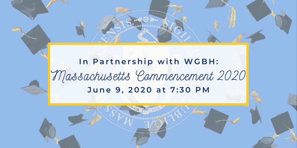 This year, high school graduations look different due to #COVID19MA.  To celebrate Massachusetts' #Classof2020, we're teaming up with @WGBH and special guests like @SteveCarell, @McCourtyTwins, @RedSox, @celtics + more for a special ceremony on June 9.  🎓 https://t.co/oaiv56KCwj https://t.co/LHyInOSPkZ
