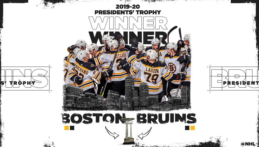 The @NHLBruins were atop the League standings at the time of the pause and claim the Presidents Trophy! #AwardWorthy presented by @Bridgestone ➡️ bit.ly/3dfUaVG