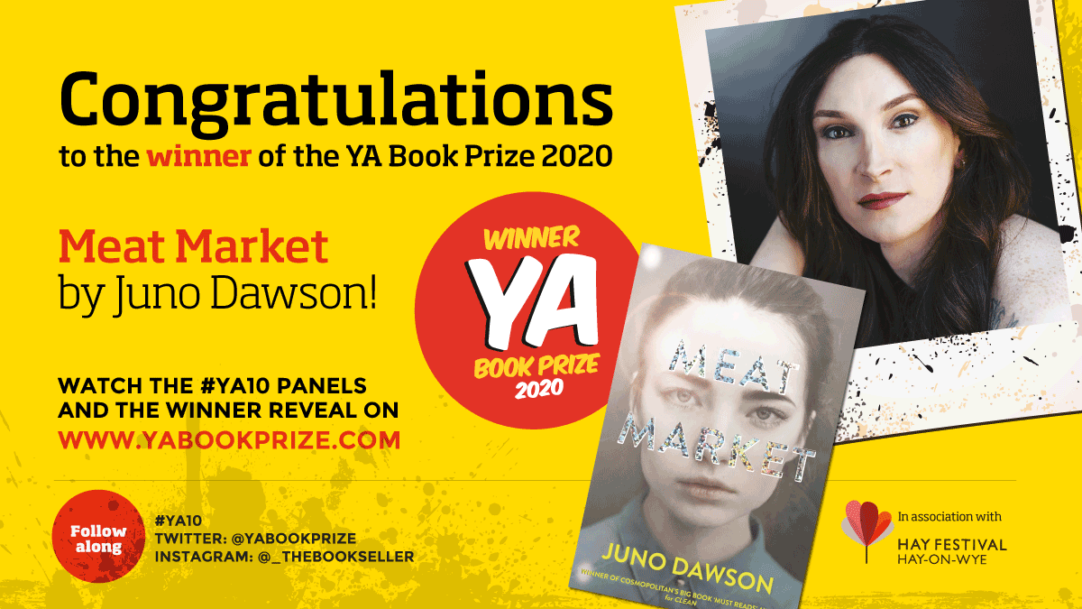 Huge congratulations to @junodawson for winning the YA Book Prize with her amazing novel Meat Market ❤️