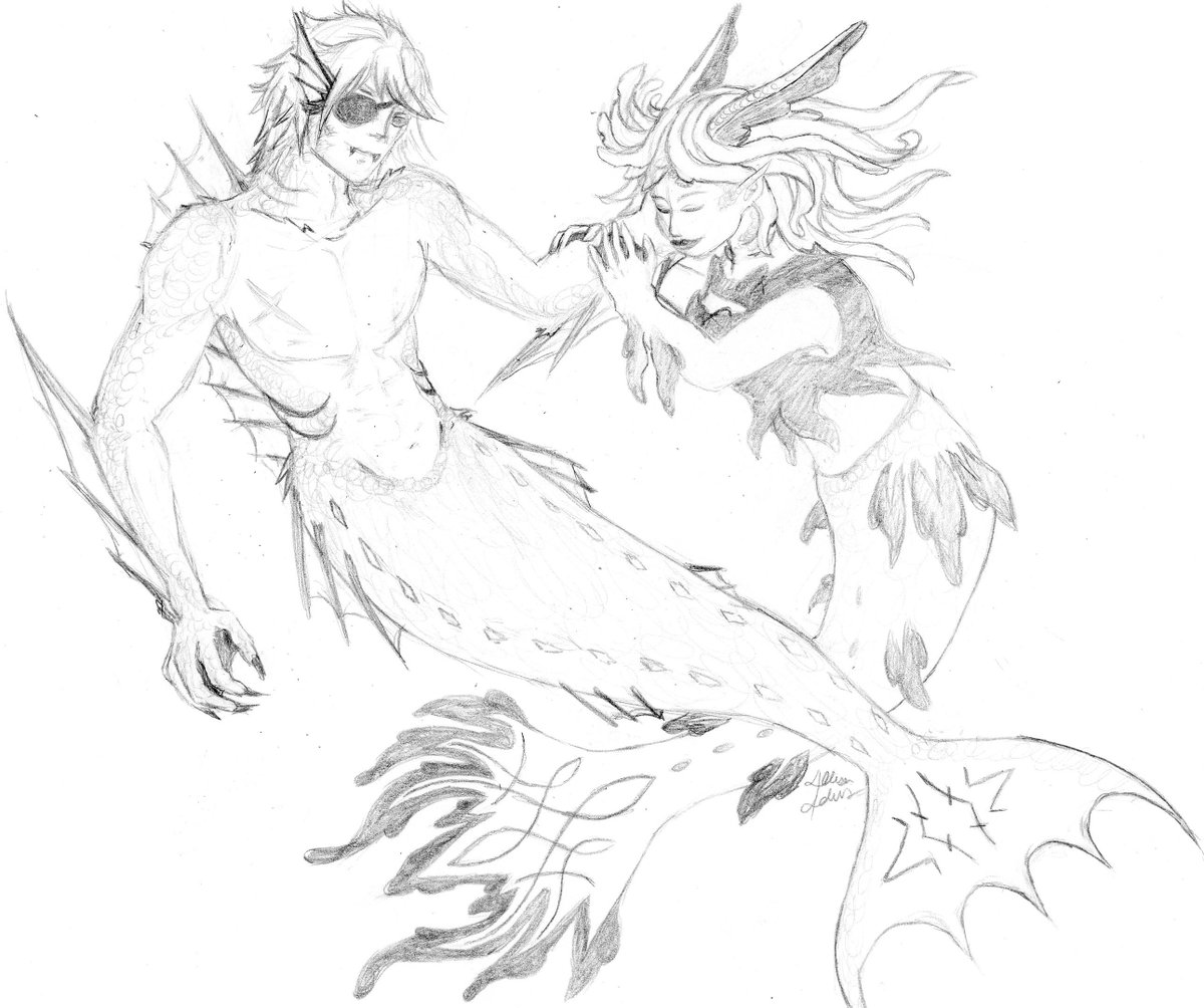 #dimileth #mermay #wip so we were talking in the discord about an AU where they were two different types of merfolk, Byleth being more surface dwelling leafy, dimitri being deep sea predator and it got me to wanting to draw for the group. I think I can call it ready to color <3