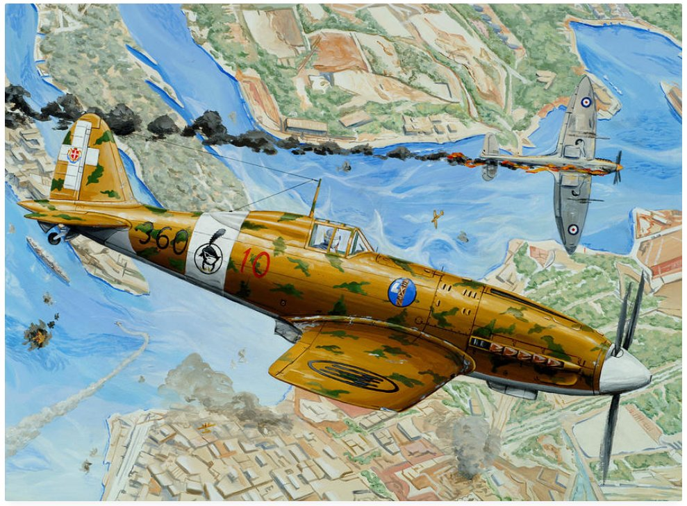 """""""Victory over Malta"""" Italian Macchi 202 fighter aircraft in a battle with a British Spitfire over Malta. Artist: Charles Taylor  #Macchi202 #Spitfire #Malta #theaviationart #Paintings #Artwork #Aviationart #Airplane #Planes #warbird #carrierplanes #militaryhistory #aircraft #wwiipic.twitter.com/1zqcBunzNx"""