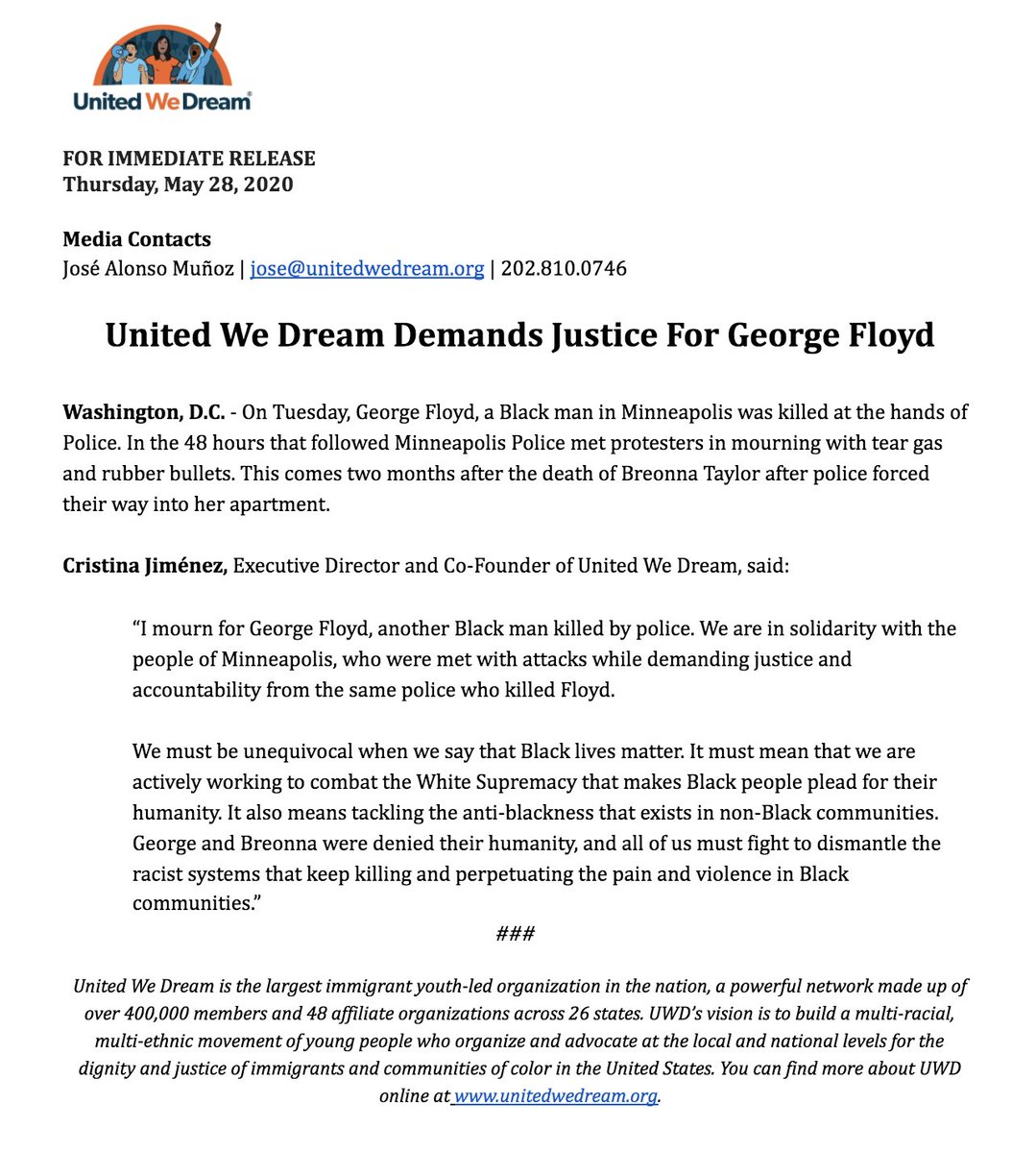 United We Dream Demands Justice For George Floyd. unitedwedream.org/2020/05/united…