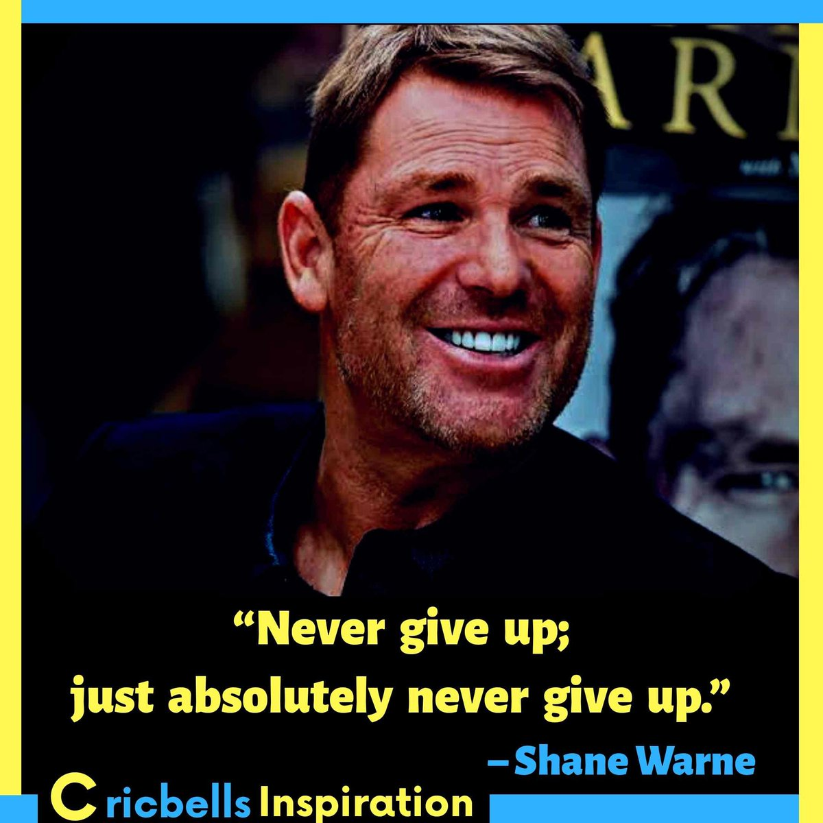 """#Inspiration""""Never give up; just absolutely never give up."""" – Shane Warne . Follow Me 👉☑️🔵 Cricket Bells #shanewarne #inspire #motivational #legendsquotes #shanewarnequotes #teamindia #FridayThoughts #goodnight #fridaymorning #FridayMotivation #fridayvibes #Cricket #follow Me https://t.co/tOTKFdR4IL"""