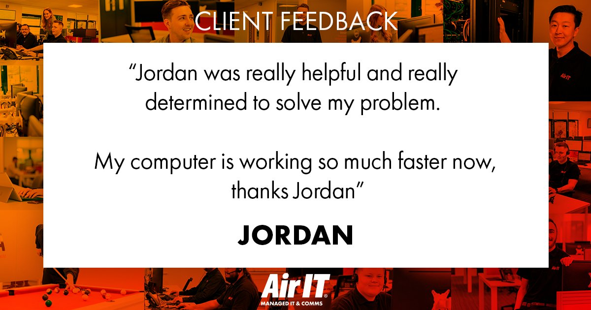 #ThankfulThursday with some really positive feedback for our Service Desk Engineer, Jordan, who has been supporting our clients whilst working remotely. Top job, Jordan!   #CustomerService #ITsupportpic.twitter.com/cZqPywQOcw