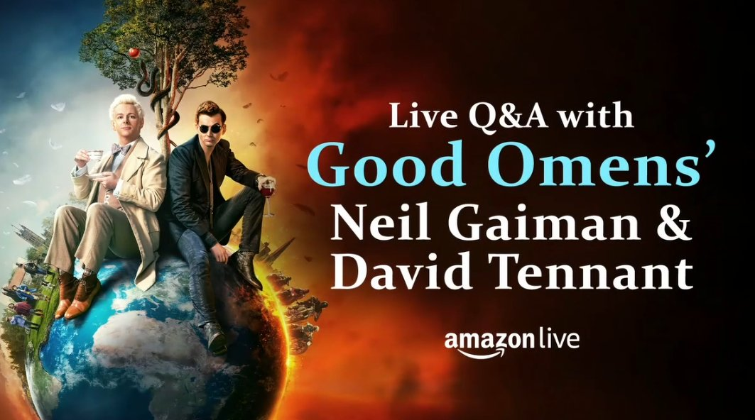 Great interview today with @neilhimself and David Tennant on @amazonlive about the anniversary of #GoodOmens,  Check it out here: