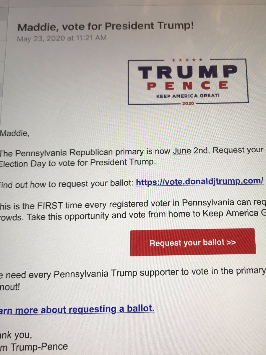 @McFaul Why is Trump's own campaign sending out emails reminding people to request their applications for mail in voting? https://t.co/UD38YIxQTD