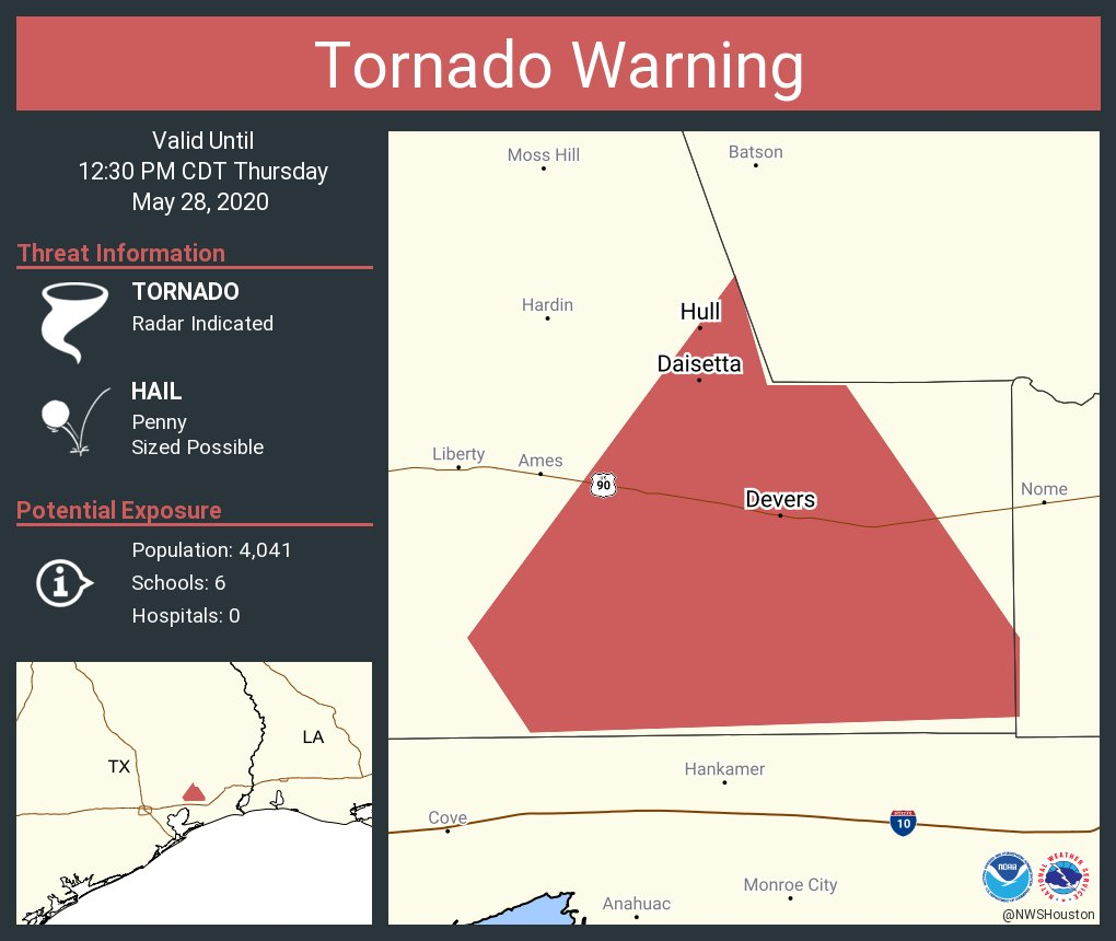 Tornado Warning including Daisetta TX, Hull TX, Devers TX until 12:30 PM CDT
