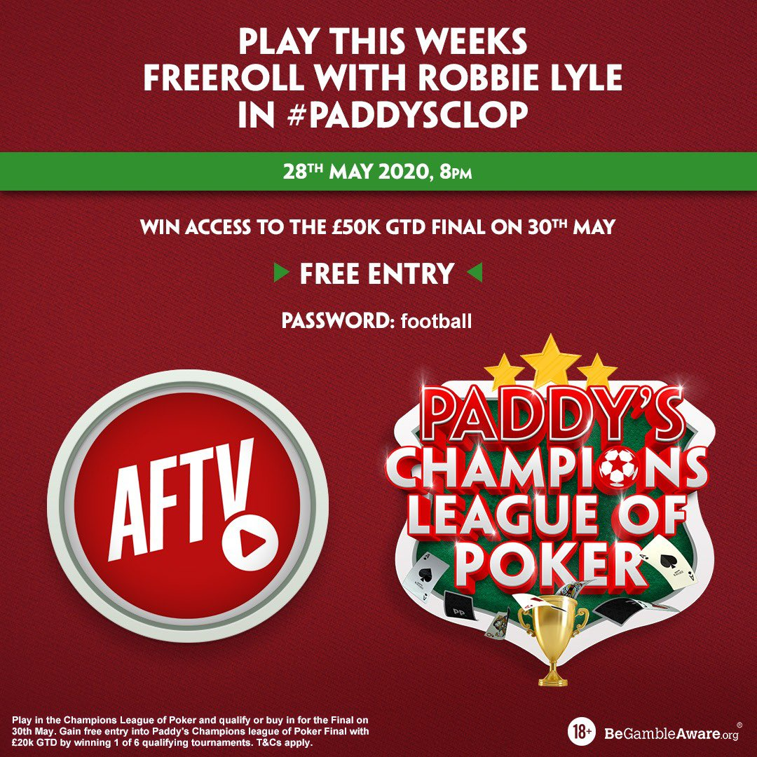 Counting down the hours until #PaddysCLOP Play alongside Robbie, Troopz and DT, win £100 if you knock any of them out! Follow the link: bit.ly/3cMTV48 Download PP Poker App > Lobby > Show Games > 8PM #PaddysCLOP Freeroll > Password: football BeGambleAware 18+ #AD