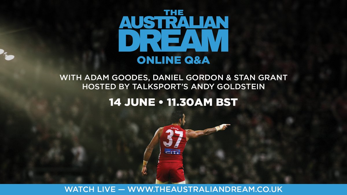 Were absolutely delighted that Adam Goodes, Daniel Gordon & Stan Grant are joining us on Sunday 14 June for a special The Australian Dream live Q&A hosted by @talkSPORTs @andygoldstein05. Save the date: theaustraliandream.co.uk