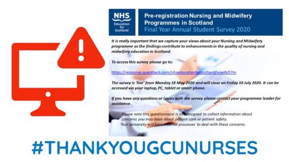 Are you a final year nursing student? Please click on the link below and leave feedback. #thankyouGCUNurses response.questback.com/isa/qbv.dll/Sh…