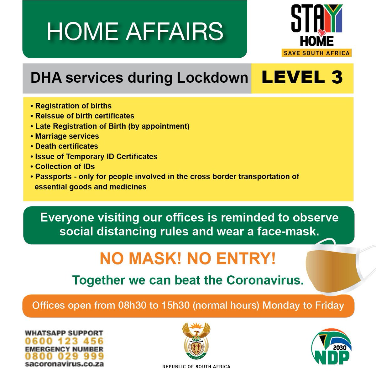 From Monday the 1st of June 2020, we'll be offering these services @GovernmentZA  #Level3Restrictions https://t.co/AXtLNXRs9J
