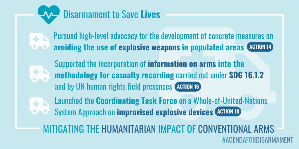 As armed #conflict continues in many regions, #disarmament efforts continue to focus on saving lives. Mitigating the #humanitarian impact of conventional arms & protecting #civilians has been a major focus of the #AgendaForDisarmament since its launch two years ago 👇 (1/2) https://t.co/nteNKtwfkm