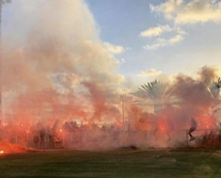 Maccabi Haifa fans at training before their game with Hapoel Tel Aviv this weekend