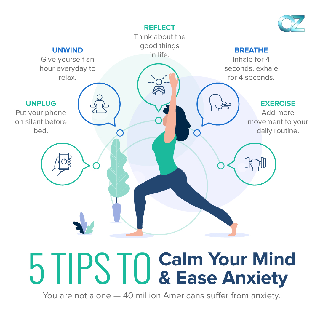 Here are 5 tips to calm your mind and ease anxiety.