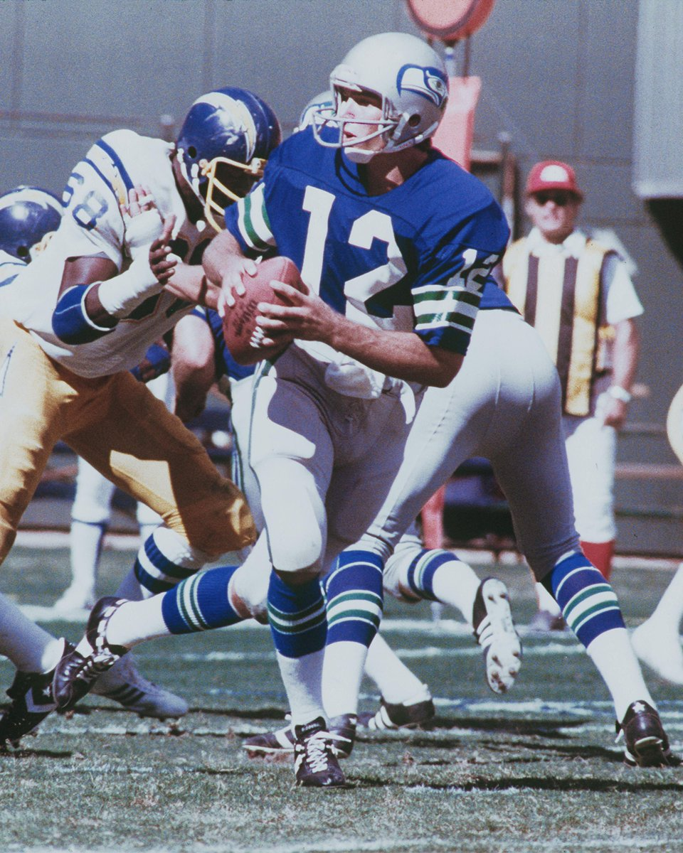 Jim Zorn is pictured during a game against the Chargers in 1979, wearing Sam Adkins jersey. And no, we dont know why theres a car parked in the end zone. 😂 #ThrowbackThursday