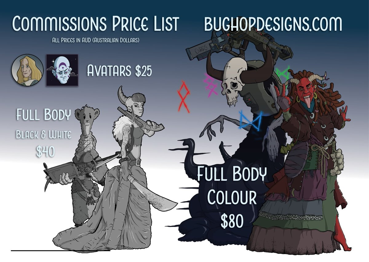 Updating my Commissions Price List so I can pin the whatsit to the doovaldang, that way everyone can thingamee the whatchimacallit. It's all very technical. #commissionsopen #illustration #ArtistOnTwitter https://t.co/RNAxSRkqqf