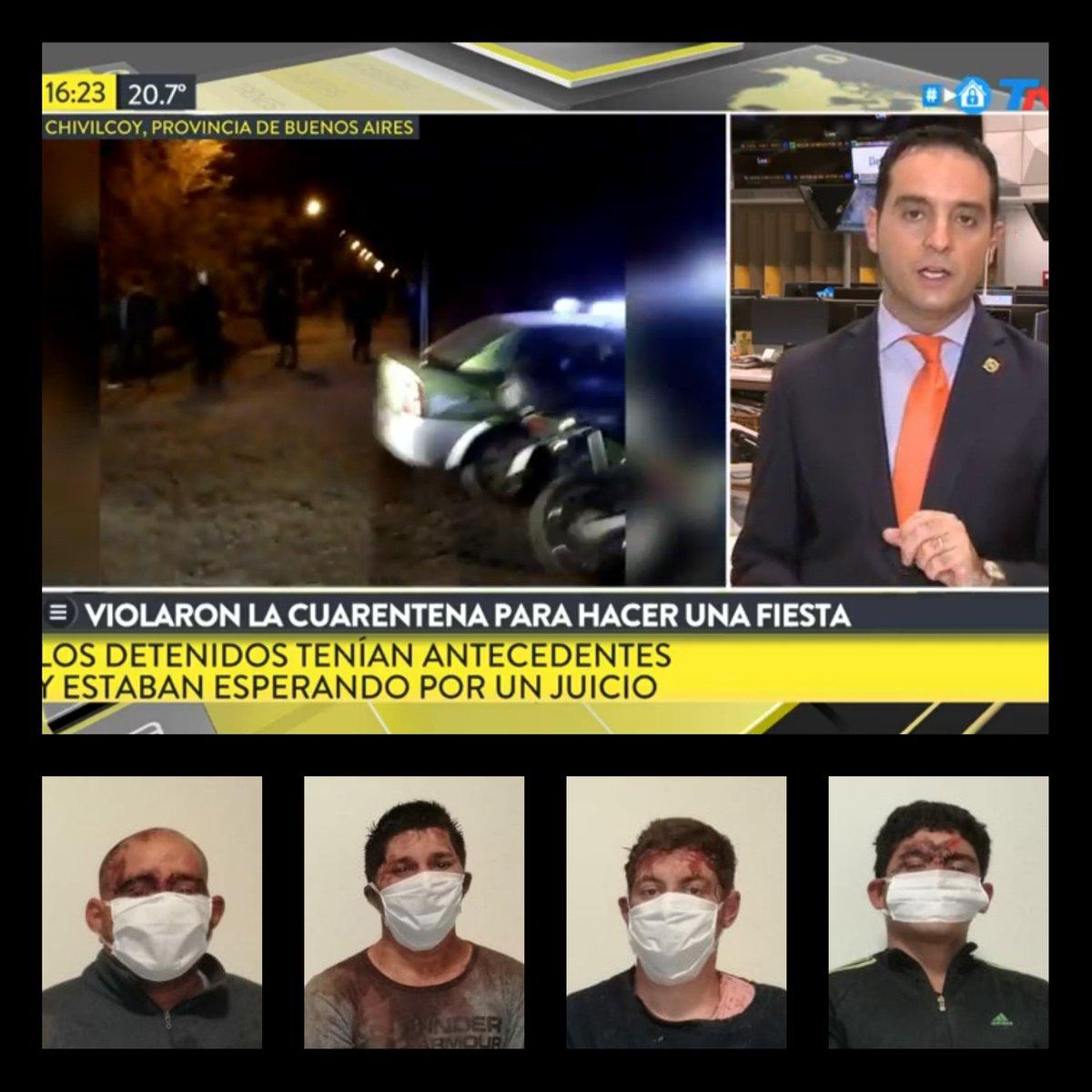 #Chivilcoy Los detenidos por el ataque:) Hernan Fetter,Martin Ortega,Daniel Fetter y Sergio Gimenez tienen antecedentes por robos,robos en poblado y en banda y amenazas.Ayer violaron la cuarentena, lastimaron a 7 policías y rompieron patrulleros y motos a palazos y piedrazos. pic.twitter.com/KFT0Y4JGnI