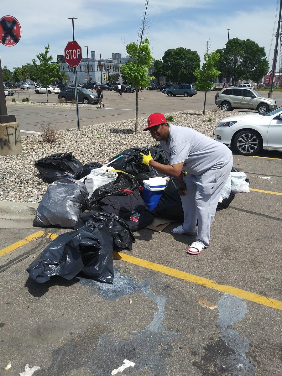 Community coming together to clean up in South Minneapolis. Of course the media won't show you this part though.