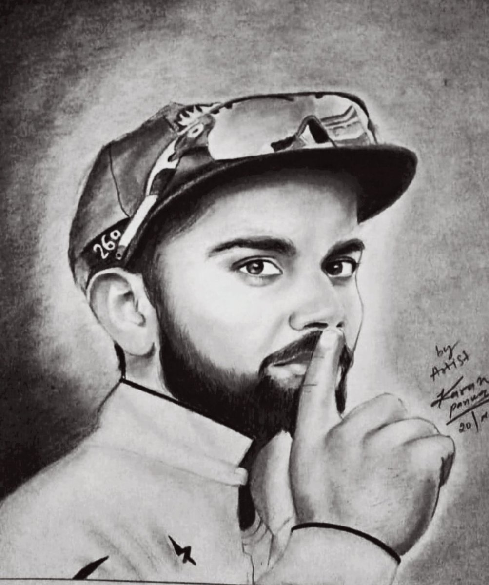 Pencil sketch of virat Kohli drawn by me@viratkohli <br>http://pic.twitter.com/4nIvmuKonl