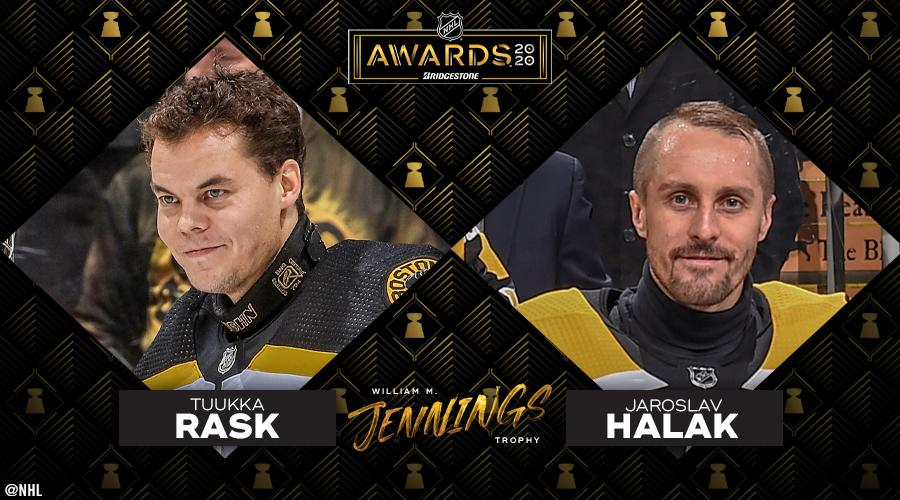 A stellar season by both @tuukkarask and Jaroslav Halak earns them the William M. Jennings Trophy! #AwardWorthy presented by @Bridgestone ➡️ bit.ly/2TNleEd