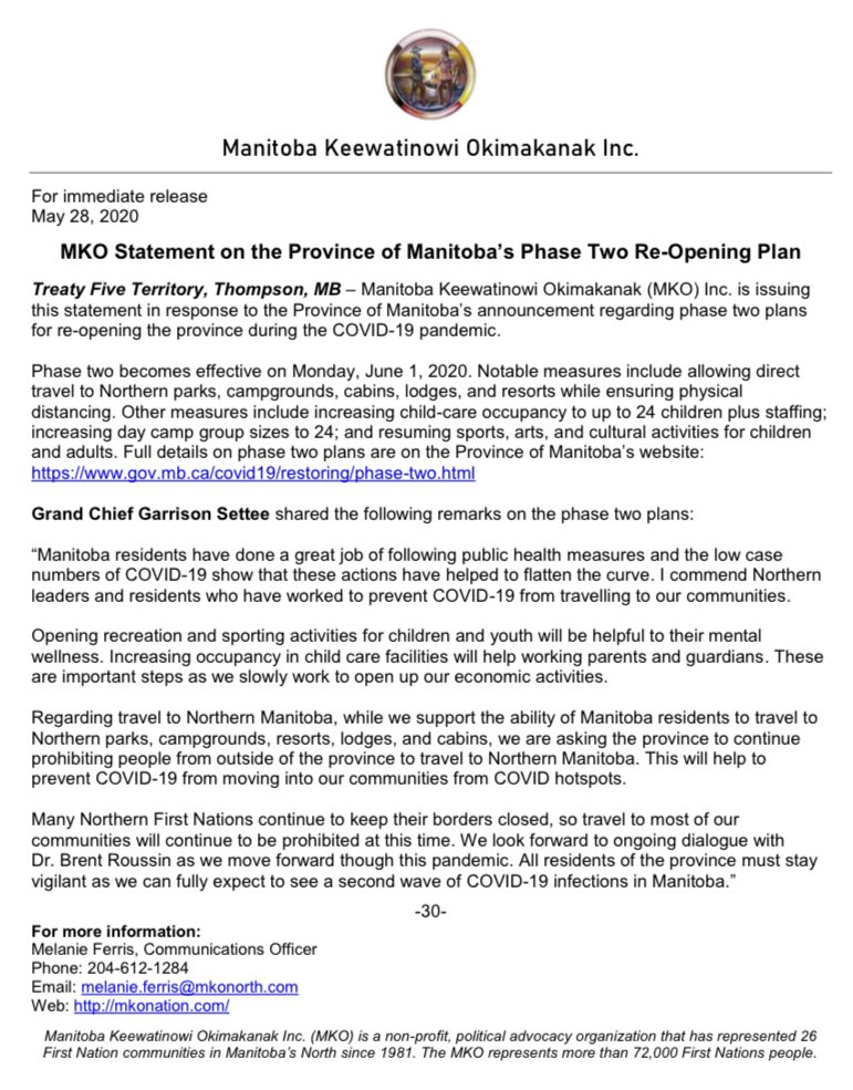 MKO Statement on the Province of Manitoba's Phase Two Re-Opening Plan  You can find our statement online here: http://mkonation.com/mko-statement-on-the-province-of-manitobas-phase-two-re-opening-plan/ … #MKONorth #COVID19MBpic.twitter.com/WiGdl0OUPI