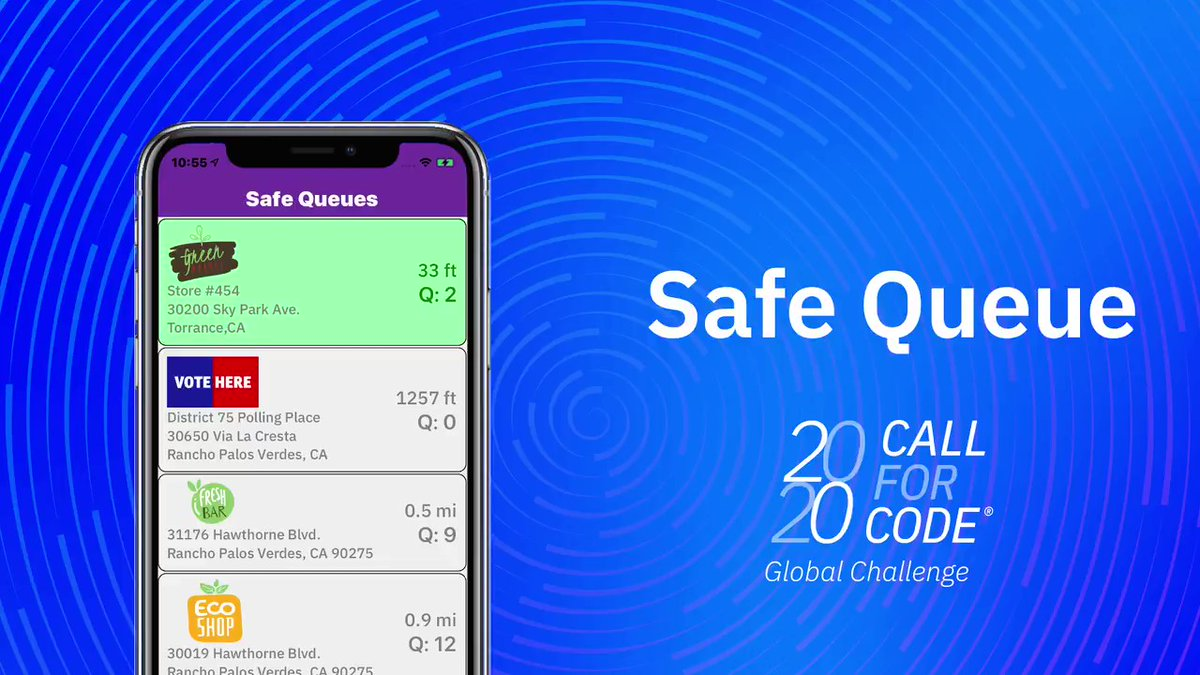 The Safe Queue mobile app protects customers waiting outside of stores by replacing physical lines with virtual ones. 📲🚶  Learn more about this initial #CallforCode solution: https://t.co/1eqnPPhETN https://t.co/tWgiwAMl4I