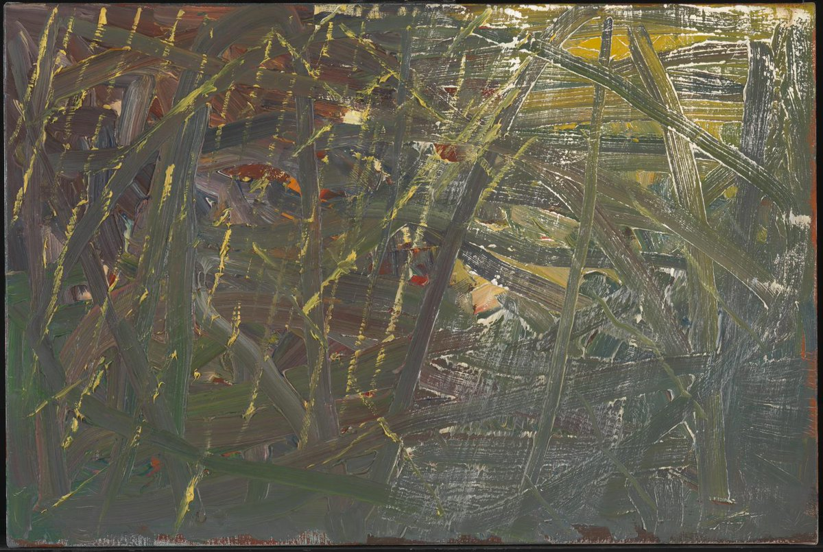 An abstract green and yellow oil painting