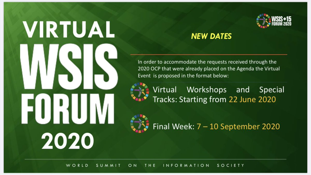 #WSIS Forum 2020 together with @ITU_DSG #ITU #UNESCO #UNDP #UNCTAD released plans for going virtual itu.int/net4/wsis/foru… Thank you stakeholders for support - we look forward to a successful continuation of our work in implementing WSIS Action Lines & advancing #SDGs #ICT4SDG