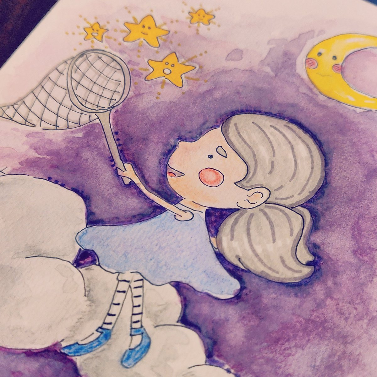 Catching stars ☁️🌟✨ #illustration #igersillustration #draw #drawings #igersart #ilovedrawing #disegno #disegnare #disegniamano #igdraws  #igart #igsketch #watercolor #watercoulor #acquerello #painting #sketch https://t.co/t2crpyvdFG