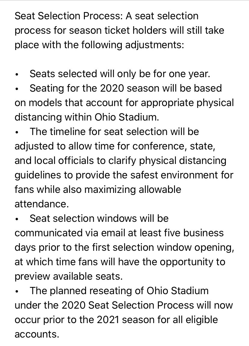Here is Ohio State's early ticketing plan for 2020. This email just went out to Buckeye season ticket holders.