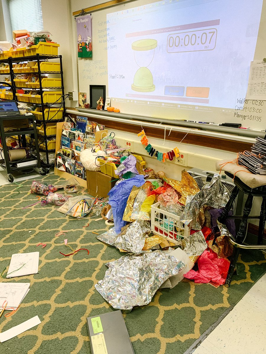 Thankful.  I'm thankful for this mess bc it shows the fun that students have when building occurs. So don't be afraid to make a mess because learning is messy! #stem #KidsDeserveIt #BeTheOne #tlap #leadlap #primarystemchat #educhat #crazyPLN #K2CanToo https://t.co/bHpHVLgByp