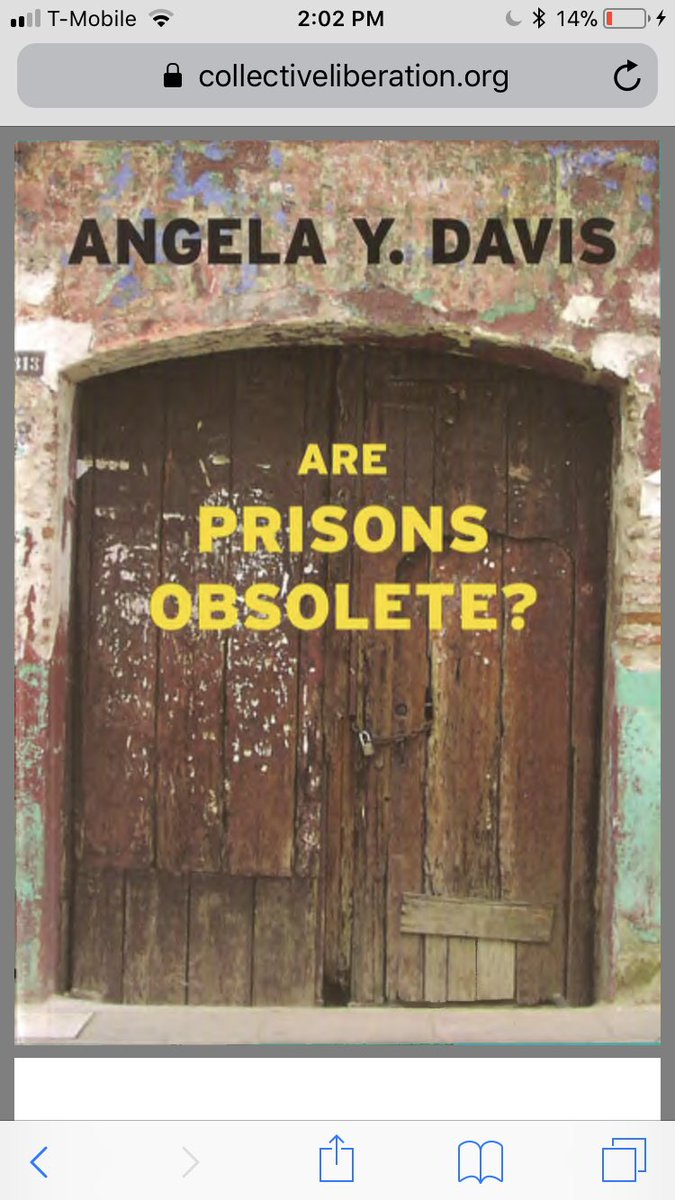 "if you haven't read angela davis's ""are prisons obsolete?"" today would be a good day. it's short, accessibly written, and essential. here's a free pdf: https://t.co/zEbH83fDJA WE MUST ALL BECOME ABOLITIONISTS! https://t.co/veQsPvjWBA"