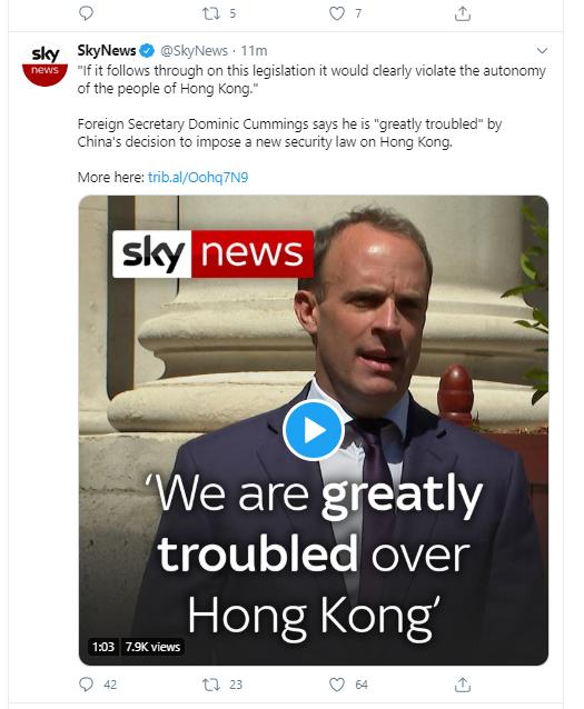 Wrong #Dominic ! Do not let #Cummings start a war with China or let #Raab betray #HongKong twitter.com/SkyNews/status…