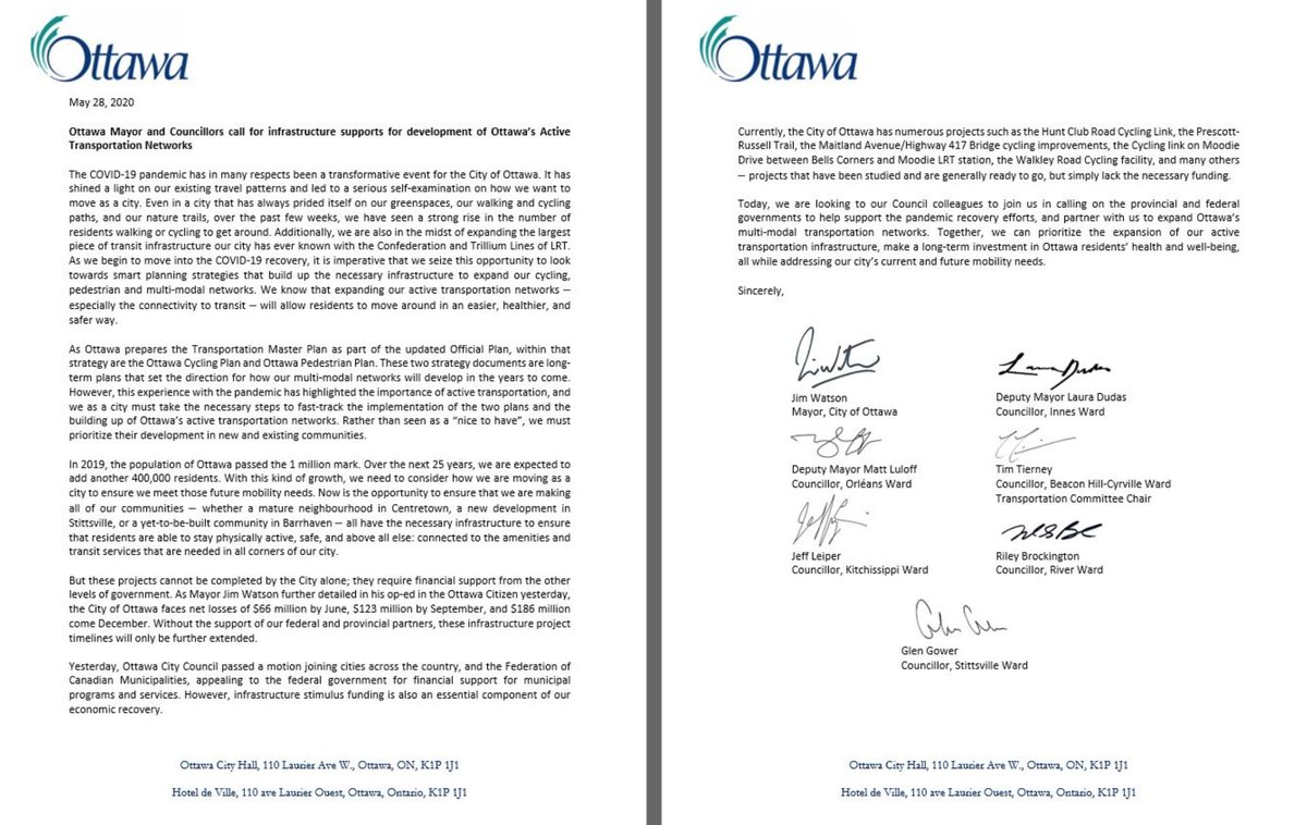 Today, we call for Council to support a unified request to our Federal partners to invest in the development of #Ottawa's Active Transportation Network; whether cycling, pedestrian or multi-use. This will allow residents to move in an easier, healthier, and safer way. pic.twitter.com/Uo4vlBf4la
