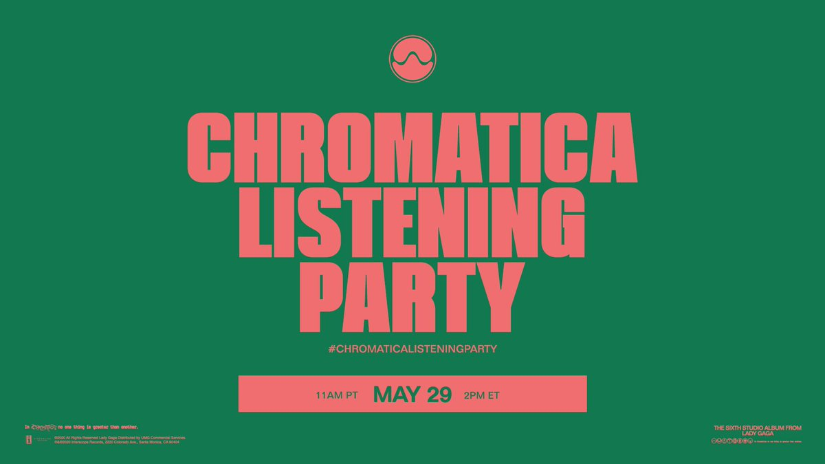 Listen to #Chromatica with me tomorrow, here on Twitter 📡 The #ChromaticaListeningParty starts at 11am PT / 2pm ET https://t.co/JS30id9Nlj