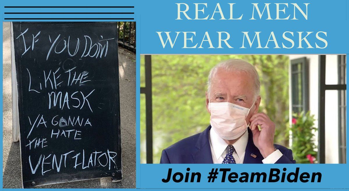 @ShelbyKStewart Trump isnt macho, he just wants to APPEAR that way. Real men respect science & facts, & care about others. MASKS ARE TO PROTECT OTHERS!! Join #TeamBiden ➡️JoeBiden.com Follow-the-leader ➡️@JoeBiden Only 159 days to #Election2020 when we can vote out #UnmanlyTrump