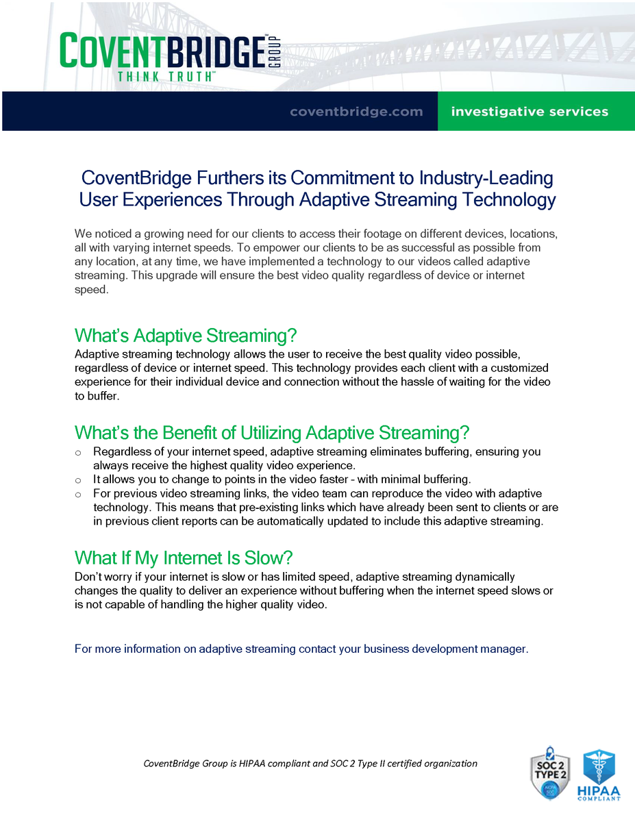 CoventBridge Furthers its Commitment to Industry-Leading User Experiences Through Adaptive Streaming Technology.  https://coventbridge.com/coventbridge-furthers-its-commitment-to-industry-leading-user-experiences-through-adaptive-streaming-technology/…   #claims #claimsinvestigations #investigations #investigators #siu #investigators #fraud #insurance #insurancefraud pic.twitter.com/N7wofGSWyY
