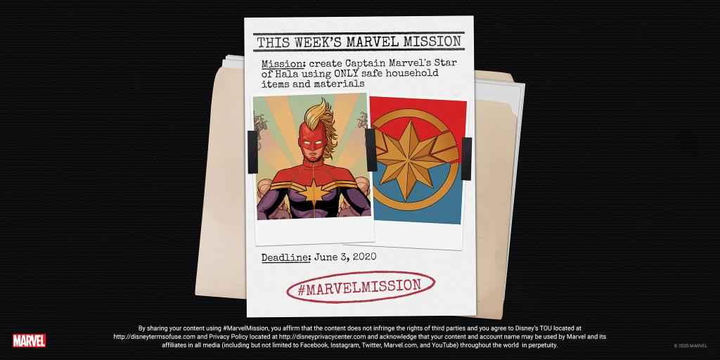 THIS WEEKS MISSION: Create Captain Marvels Star of Hala using ONLY safe household items and materials. You have one week to complete your task. Post your photo/video here with the #MarvelMission hashtag for the chance to be featured in our round-up of favorites! #MarvelAtHome