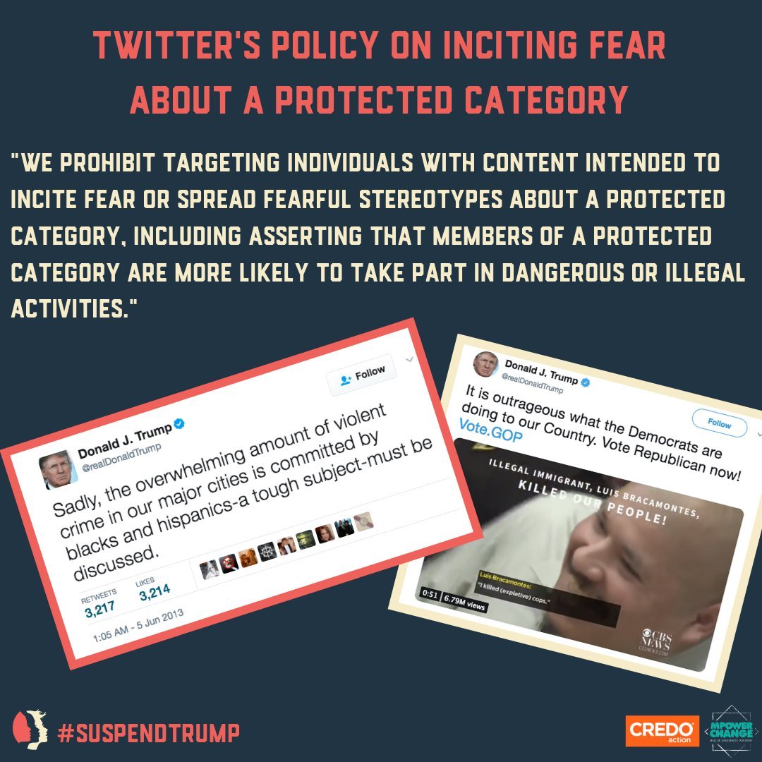 As a reminder, @twitter should have suspended Trump's account years ago. Petitions were delivered to their HQ back in the 2019 from @MPower_Change @CREDOMobile and @womensmarch and 300k activists #suspendtrump https://www.reuters.com/article/us-twitter-trump-executive-order/trump-will-sign-an-executive-order-on-social-media-companies-white-house-spokeswoman-idUSKBN2333BT?fbclid=IwAR3cbnWD0QOwnxtuuETbjDXIF16J4Pq4zuO-YlL1M0z0tc1THfhWd6D5oPA…pic.twitter.com/ZeKBKWC5Os
