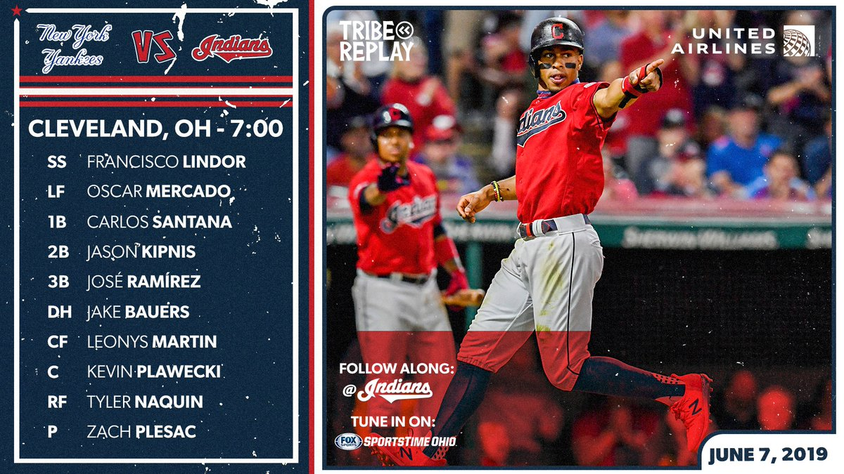 New York Yankees VS Indians Tribe Replay United Airlines Cleveland, OH - 7:00 Text Follow along: @Indians  These are things on this graphic.  #OurTribe   #TribeReplays https://t.co/s2gOl474LR