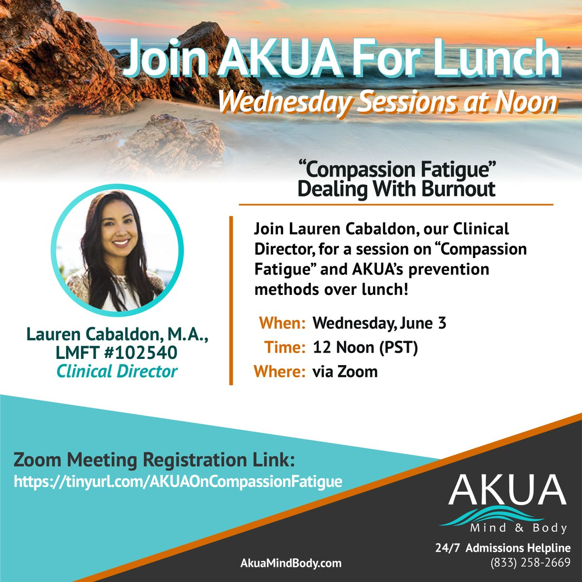"""Join AKUA for Lunch: """"Compassion Fatigue: Dealing With Burnout"""" Wednesday, June 3 at Noon! Register in advance here: https://tinyurl.com/AKUAOnCompassionFatigue…  We look forward to seeing you!  #virtualmeetings #compassionfatigue #akuastrong #mentalhealthawareness #substanceabusepic.twitter.com/NPmGbS9V6h"""